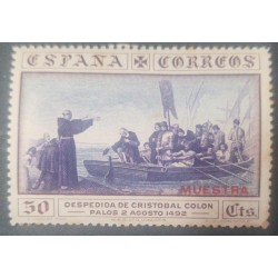 A) 1930, SPAIN, FAREWELL OF CRISTOBAL COLUMBUS, SPECIMEN, MNH, 50CTS, OVERPRINT, AIRMAIL