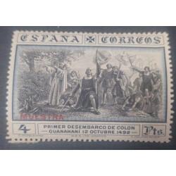 A) 1930, SPAIN, FIRST LANDING OF COLON, SPECIMEN, MNH, 40PTS, OVERPRINT, BLUE BLACK, AIRMAIL