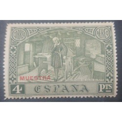 A) 1930, SPAIN, COLON IN HIS CABIN, SPECIMEN, MNH, 4PTS, OVERPRINT, GREEN, COLON CONCERNS ON THE ROAD, AIRMAIL