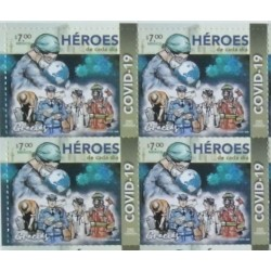 A) 2020, MEXICO, EVERYDAY HEROES, SINGLE, FIGHT AGAINST PANDEMIC, HEALTHCARE WORKERS, NEW ISSUES, MNH, BLOCK OF 4