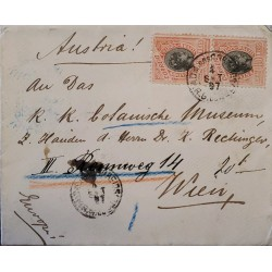 A) 1897, BRAZIL, FROM RIO GRANDE TO VIENNA-AUSTRIA, LIBERTY STAMP