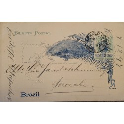 A) 1897, BRAZIL, POSTAL STATIONARY, FROM SAO PAULO TO SOROCABA, BREAD OF SUGAR STAMP
