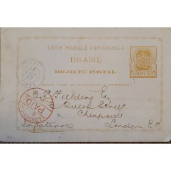 A) 1881, BRAZIL, SHIELD, FROM BAHIA TO LONDON-ENGLAND, YELLOW