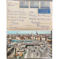 A) 1956, SWEDEN, HORSE, FLYGPOST, FROM STOCKHOLM TO MONTEVIDEO URUGUAY, POSTCARD