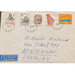 A) 1969, SWEDEN, HORSES, FROM VAXJO TO MONTEVIDEO URUGAY, FLYGPOST, XF