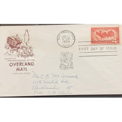 A) 1958, UNITED STATES, HORSES, FIRST DAY OF ISSUED CANCELATION, FROM SANFRANSISCO TO CLEVELAND,