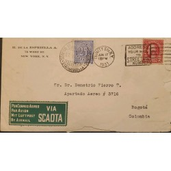 L) 1931 UNITED STATES, WASHINGTON, RED, 2C, SOBRETASA AEREA, VIA SCADATA, 25 CENTAVOS, AIRMAIL, CIRCULATED