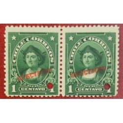 A) 1905, CHILE, CHRISTOPHER COLUMBUS, PUNCH PROOF UPPER RIGHT, SPECIMEN, 1C, GREEN