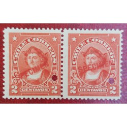 A) 1905, CHILE, CHRISTOPHER COLUMBUS, PUNCH PROOF UPPER RIGHT, SPECIMEN, 2C, RED