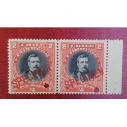 A) 1905, CHILE, DOMINGO SANTA MARIA, PUNCH PROOF, SPECIMEN, AMERICAN BANK NOTE IN PARIS, MNH, PRISTINE CONDITION, 2P, RED