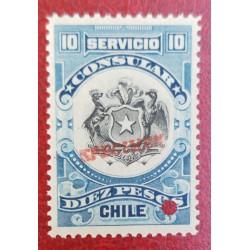 A) 1909, CHILE, CONSULAR REVENUE STAMP SPECIMEN, AMERICAN BANK NOTE, BLUE