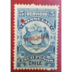 A) 1909, CHILE, CONSULAR REVENUE STAMP SPECIMEN, AMERICAN BANK NOTE, BLUE, 5P