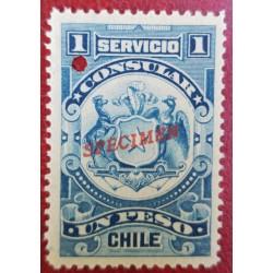 A) 1909, CHILE, CONSULAR REVENUE STAMP SPECIMEN, AMERICAN BANK NOTE, BLUE, 1P