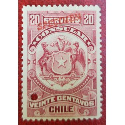 A) 1909, CHILE, CONSULAR REVENUE STAMP SPECIMEN, AMERICAN BANK NOTE, RED, 20C