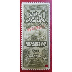 A) 1899, CHILE, MORTGAGE CREDIT BOX, SAVINGS STAMP, REVENUE STAMP SPECIMEN, AMERICAN BANK NOTE, GREY, 20C
