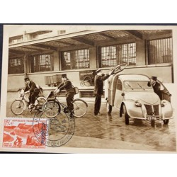 A) 1958, FRENCH REPUBLIC, BIKES, POSTCARD