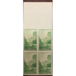 A) 1934, UNITED STATES, NATIONAL PARKS, IMPERFORATE BLOCK OF 4, GREEN, YOSEMITE