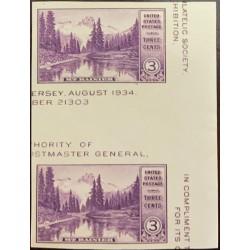 A) 1934, UNITED STATES, 3c NATIONAL PARKS MT. RAINIER, WASHINGTON, PHILATELIC EXPOSURE