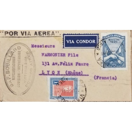 A) 1935, ARGENTINA, VIA CONDOR, FROM BUENOS AIRES TO LYON-FRANCE, AIRMAIL