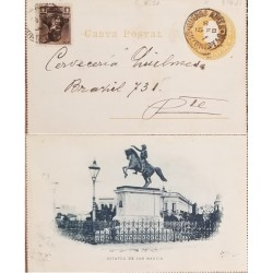 A) 1907, ARGENTINA, POSTAL STATIONARY, FROM BUENOS AIRES TO BRASIL, STATUE OF SAN MARTIN