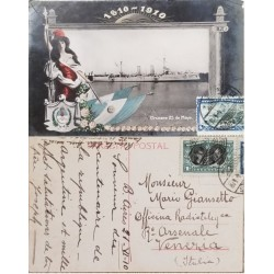 A) 1910, ARGENTINA, POSTCARD, FROM BUENOS AIRES TO VENEZIA ITALY, RODRIGUEZ AND VIEYTEZ STAMP