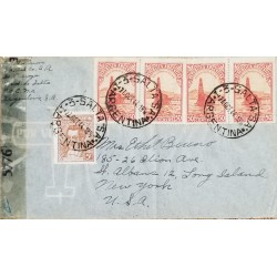 A) 1944, ARGENTINA, OIL, FROM SALTA TO NEW YORK UNITED STATES, AERIAL, OIL WELL IN THE SEA STAMP