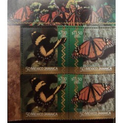 A) 2016, MEXICO – JAMAICA, BUTTERFLIES, JOINT ISSUE, MNH, ESTABLISHMENT OF DIPLOMATIC RELATIONS, TWO PAIRS