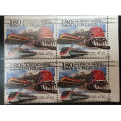 A) 2017, MEXICO, TRAINS, MNH, RAILWAY TRANSPORT, BLOCK OF 4