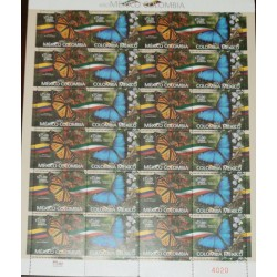 A) 2018, MEXICO COLOMBIA, BUTTERFLIES, JOINT ISSUE, MNH, ESTABLISHMENT OF DIPLOMATIC RELATIONS, TWELVE PAIR