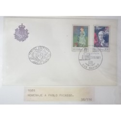 A) 1981, SAN MARINO, PICASSO, FDC, PAINTINGS BY PABLO PICASSO, PRIMO GIORNO