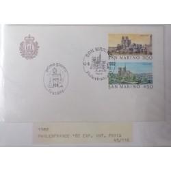 A) 1982, SAN MARINO FDC, PHILEXFRANCE IN PARIS, CASTLES, PRIMO GIORNO