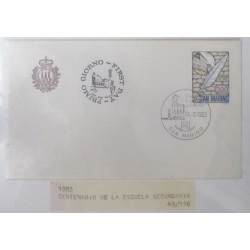 A) 1983, SAN MARINO, HIGH SCHOOL, FDC, PRIMO GIORNO, CENTENARY OF THE LICEO SANMARINENSE