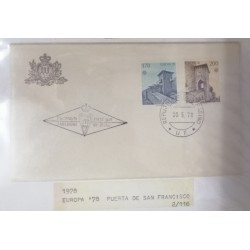 A) 1978, SAN MARINO, MONUMENTS, FDC, ISSUE EUROPA, SAN FRANCISCO DOOR, RIPA DOOR