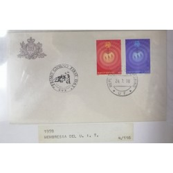 A) 1978, SAN MARINO, TELECOMMUNICATIONS, FDC, INTERNATIONAL DAY, MEMBERSHIP OF THE U.I.T