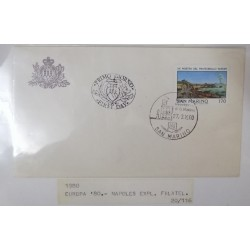 A) 1980, SAN MARINO, NAPOLES, FDC, INTERNATIONAL PHILATELIC EXHIBITION