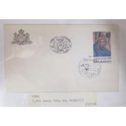 A) 1980, SAN MARINO, SAINT BENEDICT OF NURSIA, FDC, ANIERSARY NUMBER 1500
