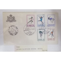 A) 1980, SAN MARINO, CYCLING, BASKETBALL, RUNNING, GYMNASTICS, HIGH JUMPING, FDC, OLYMPIC GAMES MOSCOW, U.R.S.S.