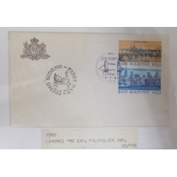 A) 1980, SAN MARINO, CITIES OF THE WORLD, FDC, LONDRES – GRAN BRETAÑA