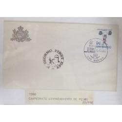 A) 1980, SAN MARINO, WEIGHTLIFTING, FDC, CHAMPIONSHIP