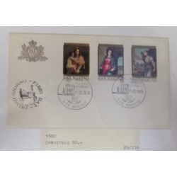 A) 1980, SAN MARINO, CHRISTMAS, FDC, MADONA OF THE HARPIAS, VIRGIN AND ANGEL