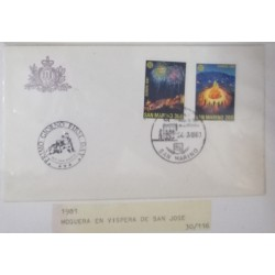 A) 1981, SAN MARINO, FIREPLACE AND FIREWORKS, FDC, ISSUE EUROPA, FOLKLORE