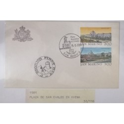 A) 1981, SAN MARINO, CITIES OF THE WORLD, VIENNA AUSTRIA, FDC, SQUARE OF SAN CARLOS
