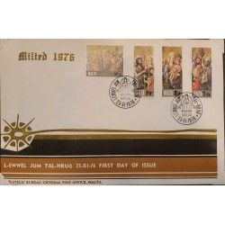 A) 1976, MALTA, CHRISTMAS, FDC, THE VIRGIN AND THE SAINTS, VALETTA MUSEUM OF FINE ARTS