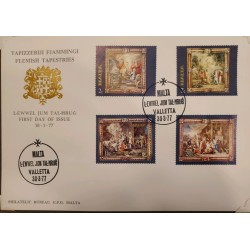 A) 1977, MALTA, FLAMENCO UPHOLSTERY, FDC, THE ANNUNCIATION, THE FOUR EVANGELISTS, NATIVITY AND ADORATION OF THE WISE KINGS