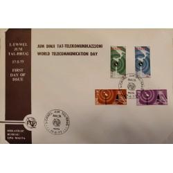 A) 1977, MALTA, WORLD TELECOMMUNICATIONS DAY, FDC, PHILATELIC BUREAU