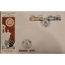 A) 1977, MALTA, LANDSCAPES, FDC, ISSUE EUROPA, TAL ISPERNZA, IS SALINI