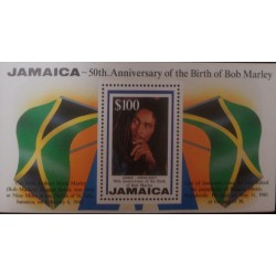 A) 1995, JAMAICA, SINGER BOB MARLEY, MNH, ANNIVERSARY OF HIS BIRTH, MULTICOLORED