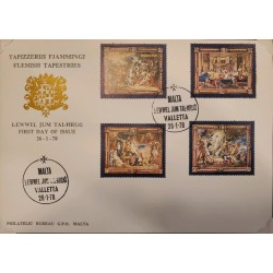A) 1978, MALTA, FLAMENCO UPHOLSTERIES, FDC, RUBENS, ENTRY INTO JERUSALEM, THE LAST SUPPER,