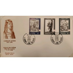A) 1978, MALTA, ENGRAVINGS ON COPPER, FDC, WOMAN ON HORSE, THE GAITA, MARY WITH JESUS