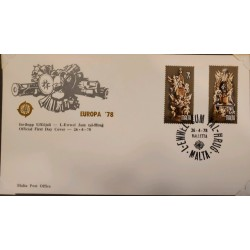 A) 1978, MALTA, STATUES, FDC, OFFICIAL POSTCARD, ISSUE EUROPA, MONUMENT TO NICOLAS COTONER AND MONUMENT TO RAMON PERELLOS